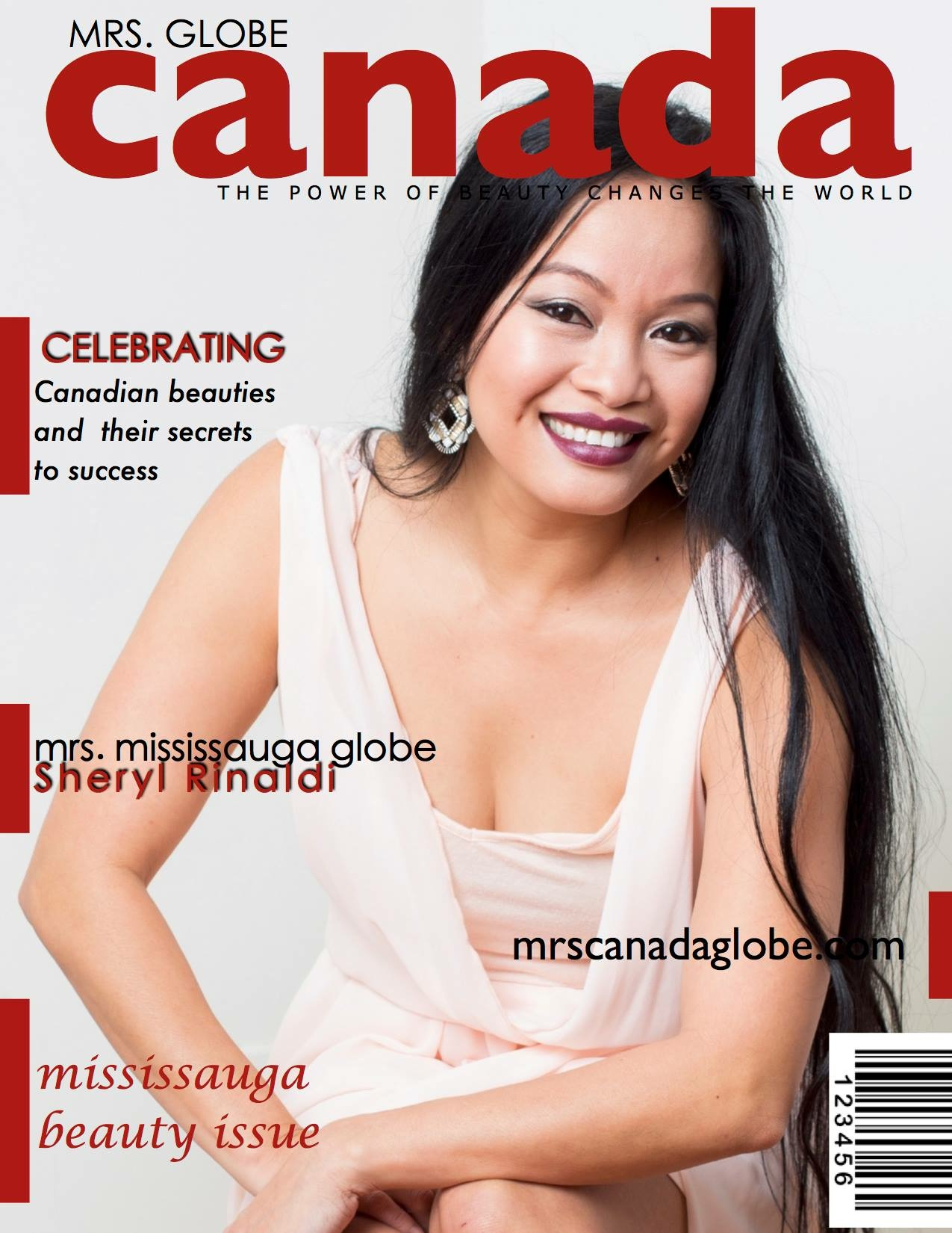 Mrs. Globe Magazine Cover Featuring Sheryl Rinaldi a graduate of National Institute