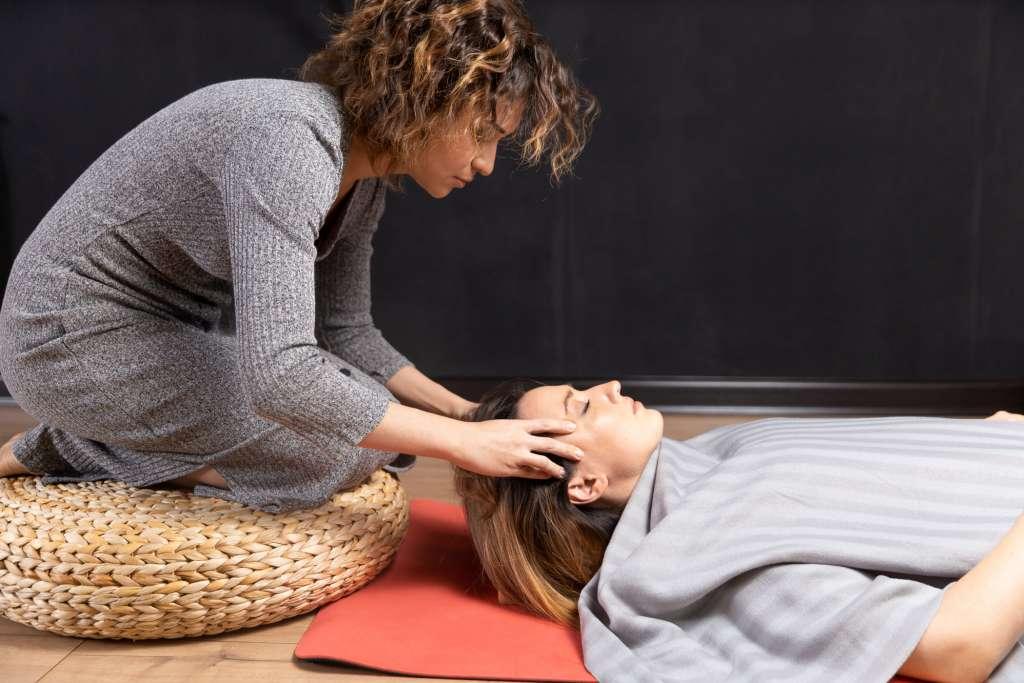 Ayurvedic (Indian) Head Massage Student Demonstrating Technique